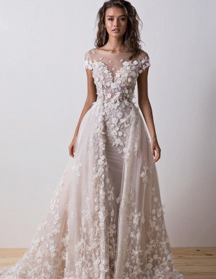 Charming Bateau Backless Short Sleeve 2020 Wedding Dress | Lace Appliques Bridal Gowns On Sale_2