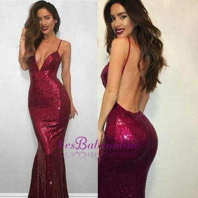 Red Spaghetti-Strap Backless Sleeveless Sexy Mermaid Sequined V-neck Prom Dress_1