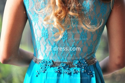 Womens Long Evening Prom Dresses Hot Sale Lindo Vestidos De Fiesta Party Gowns Blue Scoop Pearls Chiffon Lace_3