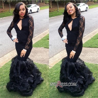 Black Lace Long-Sleeves Mermaid Sexy Keyhole-Neck Ruffles-Skirt 2020 Prom Dresses_1