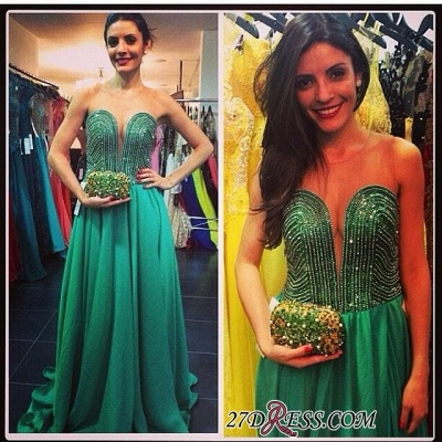 2020 Sweep Sweetheart A-line Green Train Beading Evening Gown_1