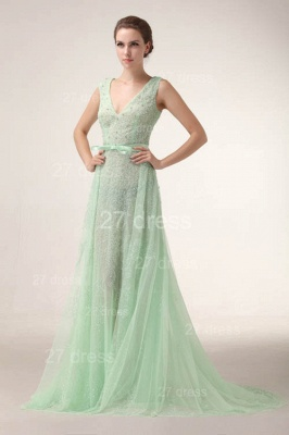Sexy V-Neck Lace Evening Dresses Bownot A-Line Prom Gowns with Beadings_6