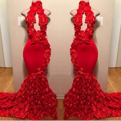 Sexy Red Keyhole 2020 Prom Dresses | Mermaid Flowers Long Evening Gowns BC1038_2