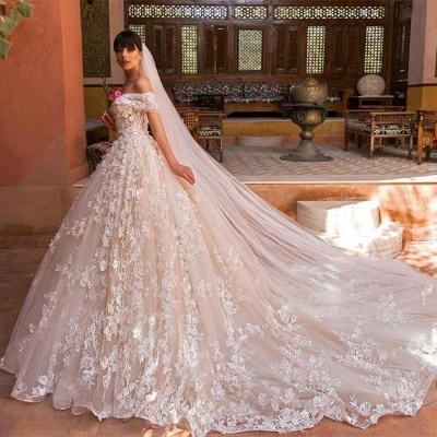 Glamorous Off-the-Shoulder Wedding Dresses | 2020 Appliques Flowers Bridal Gown_4