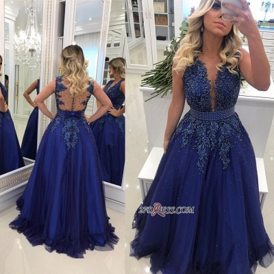 Glamorous V-Neck Lace Prom Dresses | 2020 Long Navy Evening Dress Online BMT BC0593_2