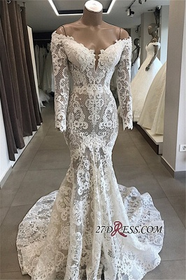 Appliques Off-the-shoulder Lace Long-Sleeves White Mermaid Elegant Wedding Dresses_3