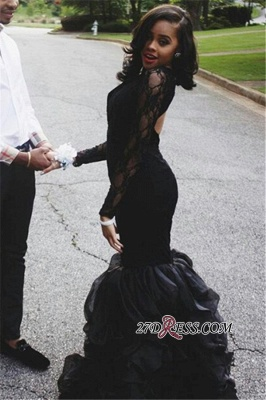 Black Lace Long-Sleeves Mermaid Sexy Keyhole-Neck Ruffles-Skirt 2020 Prom Dresses_2