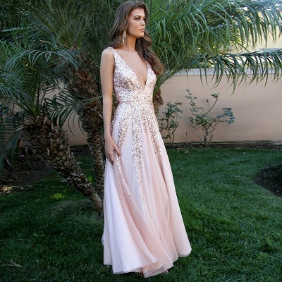 Elegant V-Neck Sleeveless 2020 Prom Dress | Pink A-Line Backless Sequins Evening Gowns_2