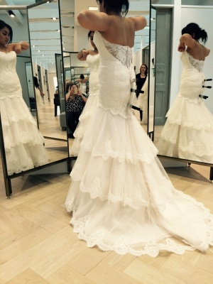 Chic Tulle Lace Mermaid Tiered Wedding Dress Zipper_2