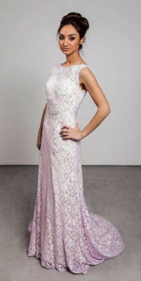 Modern Jewel Sleeveless Lace Evening Dress Sweep Train_1