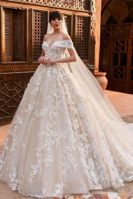 Glamorous Off-the-Shoulder Wedding Dresses | 2020 Appliques Flowers Bridal Gown_1