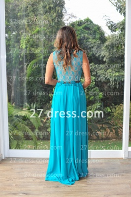 Womens Long Evening Prom Dresses Hot Sale Lindo Vestidos De Fiesta Party Gowns Blue Scoop Pearls Chiffon Lace_6