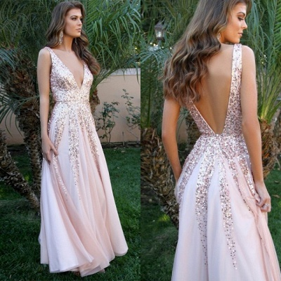 Elegant V-Neck Sleeveless 2020 Prom Dress | Pink A-Line Backless Sequins Evening Gowns_4