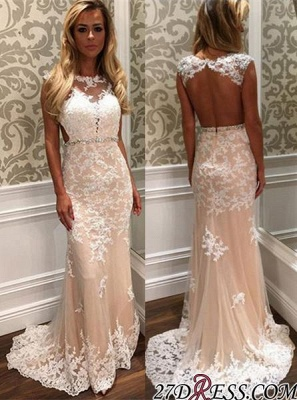 2020 Tulle Open-Back Gorgeous Long Lace Crystal Prom Dress BA4294_2