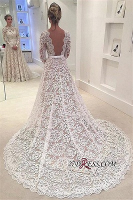 Long-Sleeves Backless Lace Bowknot Elegant A-Line Wedding Dress BA3858_2