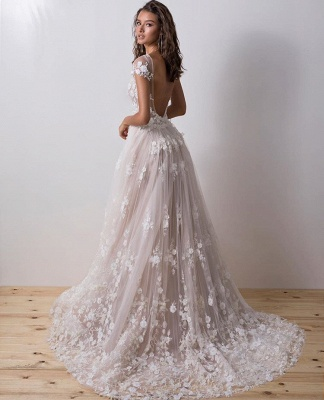 Charming Bateau Backless Short Sleeve 2020 Wedding Dress | Lace Appliques Bridal Gowns On Sale_3