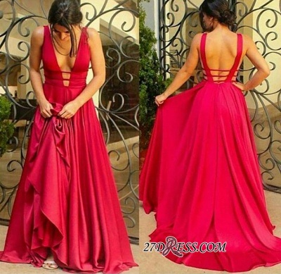 Newest Sleeveless Deep-V-Neck Red Open-Back Prom Dress BA5247_2