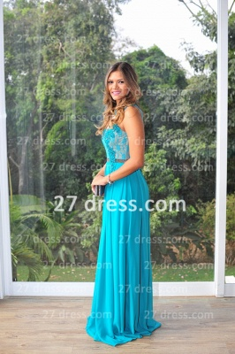 Womens Long Evening Prom Dresses Hot Sale Lindo Vestidos De Fiesta Party Gowns Blue Scoop Pearls Chiffon Lace_4