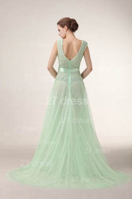 Sexy V-Neck Lace Evening Dresses Bownot A-Line Prom Gowns with Beadings_5
