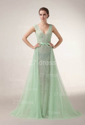 Sexy V-Neck Lace Evening Dresses Bownot A-Line Prom Gowns with Beadings_1