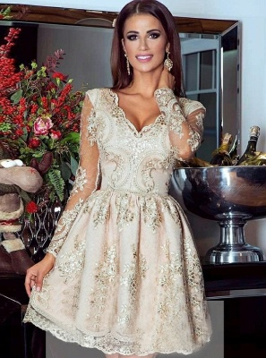 Glamorous Long Sleeve 2020 Short Homecoming Dress Lace Appliques Prom Dress_1