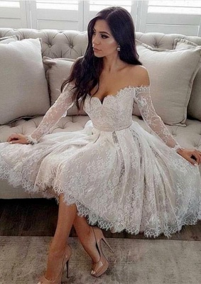 Long Sleeve Off-the-Shoulder Homecoming Dress   2020 Lace Short Prom Dresses_1