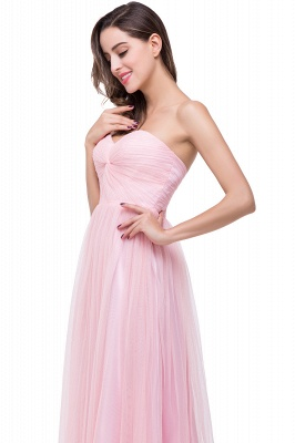 Elegant Sweetheart Pink Bridesmaid Dress 2020 Ruched Long Prom Gown_3