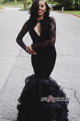 Black Lace Long-Sleeves Mermaid Sexy Keyhole-Neck Ruffles-Skirt 2020 Prom Dresses_3