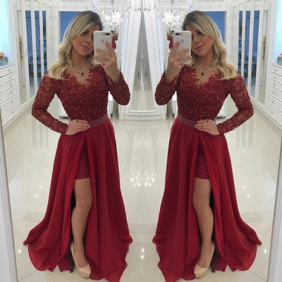Chic Long Sleeve Burgundy Evening Dress   2020 Prom Party Dress With Pearls BC0210_3