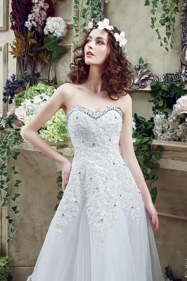 Glamorous Sequined Lace Tulle 2020 Wedding Dress Court Train Lace-up_6