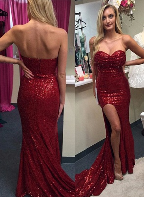 Sexy Red Sequins 2020 Prom Dresses Split Mermaid Zipper Back_2