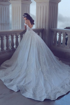 Chic Lace Off-the-Shoulder Wedding Dress 2020 Backless Long Beadings Bridal Gowns With Train_1