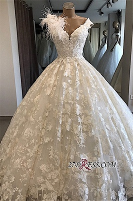 Appliques V-neck Ball-Gown Feathers Alluring Wedding Dresses_2