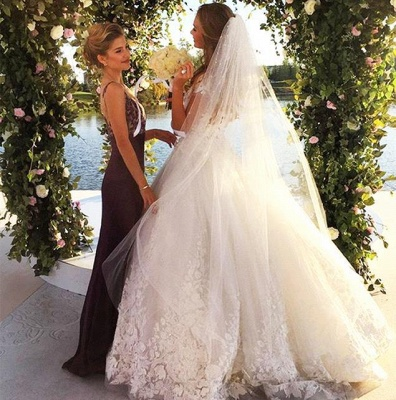 Glamorous Cal Sleeve Wedding Dress 2020 3D Floral Appliques Princess Bridal Gowns Tulle_3