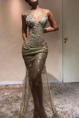 Glamorous Sleeveless 2020 Long Mermaid Prom Gown | Tulle Lace Appliques Sheer Evening Dress On Sale_1