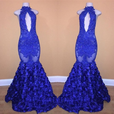 Elegant Royal Blue Lace Appliques Prom Dress   2020 Mermaid Long Evening Gowns With Flowers Bottom_2