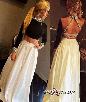 High-Neck Crystal Sexy A-Line Long-Sleeves Two-Pieces Prom Dress qq0255_3