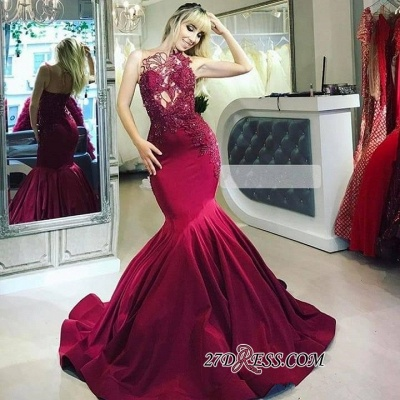 Sleeveless Flower Appliques Mermaid Prom Dresses | Sexy Lace Ruffles Strapless Sequins Prom Dresses_1