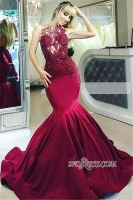 Sleeveless Flower Appliques Mermaid Prom Dresses | Sexy Lace Ruffles Strapless Sequins Prom Dresses_2