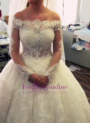 Ball-Gown Off-the-Shoulder Amazing Lace Pearls Long-Sleeves Wedding Dresses_2