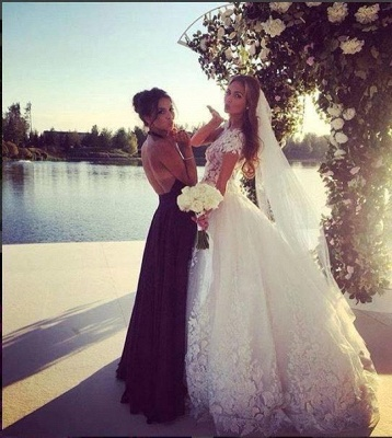 Glamorous Cal Sleeve Wedding Dress 2020 3D Floral Appliques Princess Bridal Gowns Tulle_7
