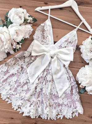 Lovely V-Neck Lace Homecoming Dresses | 2020 Mini Party Dress Online_3