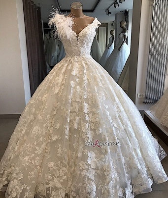 Appliques V-neck Ball-Gown Feathers Alluring Wedding Dresses_1