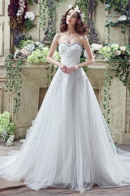 Glamorous Sequined Lace Tulle 2020 Wedding Dress Court Train Lace-up_1