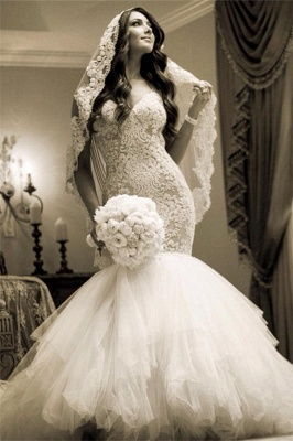 Newest Style Lace Wedding Dress2020 Mermaid Tulle Bridal Gowns_1
