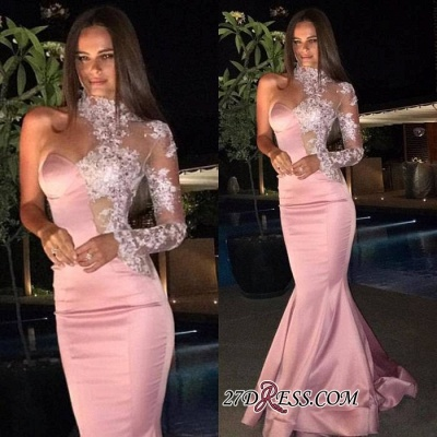 Gorgeous Mermaid Lace One-Shoulder High-Neck Evening Dress_1