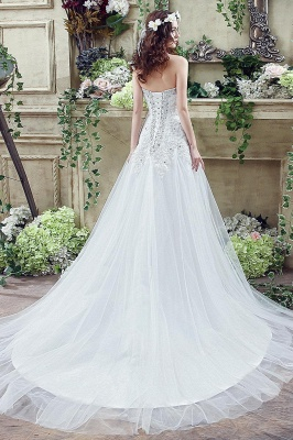 Glamorous Sequined Lace Tulle 2020 Wedding Dress Court Train Lace-up_5