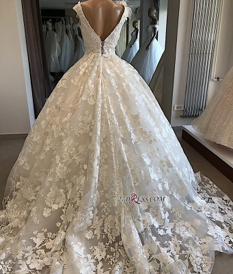 Appliques V-neck Ball-Gown Feathers Alluring Wedding Dresses_3