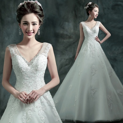 Gorgeous Sleeveless V-Neck Lace Appliques Wedding Dresses 2020 Long Train With Beadings_3