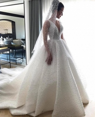 Elegant V-Neck Sleeveless Wedding Dress | Princess Pearls Bridal Gowns On Sale BC0634_1